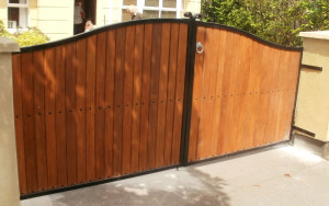 Teak Entrance Gates Cork, Teak Driveway Gates Cork, Teak Gates Cork, Steel frame with teak gates cork,