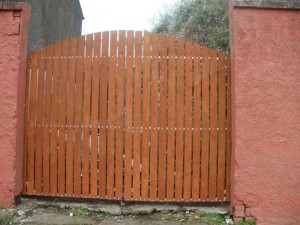 Timber Side Entrance Gates Cork, Steel with Timber gates cork, wrought iron gates with timber cork,