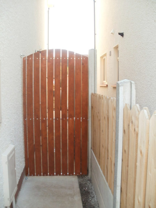 Timber Side Gate Cork, Steel Frame with timber gate cork, wrought iron gate with timber cork,