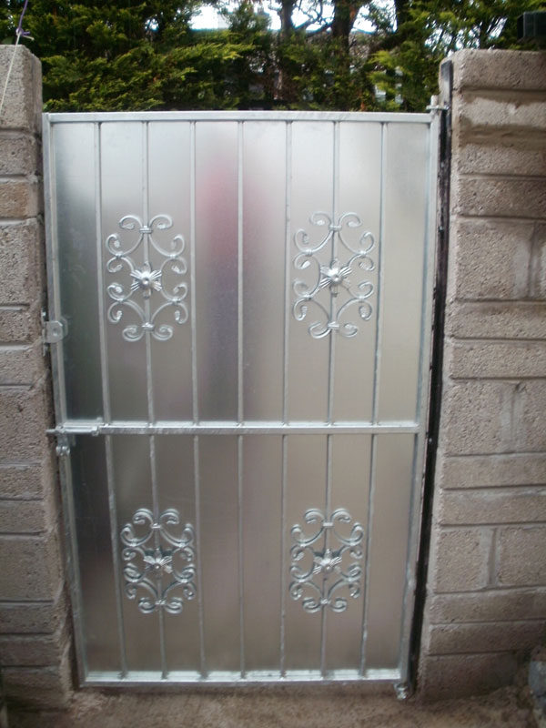 Wrought Iron with sheeting Side Entrance Gate Cork, Steel with sheeting side entrance gate cork, side entrance gates cork,