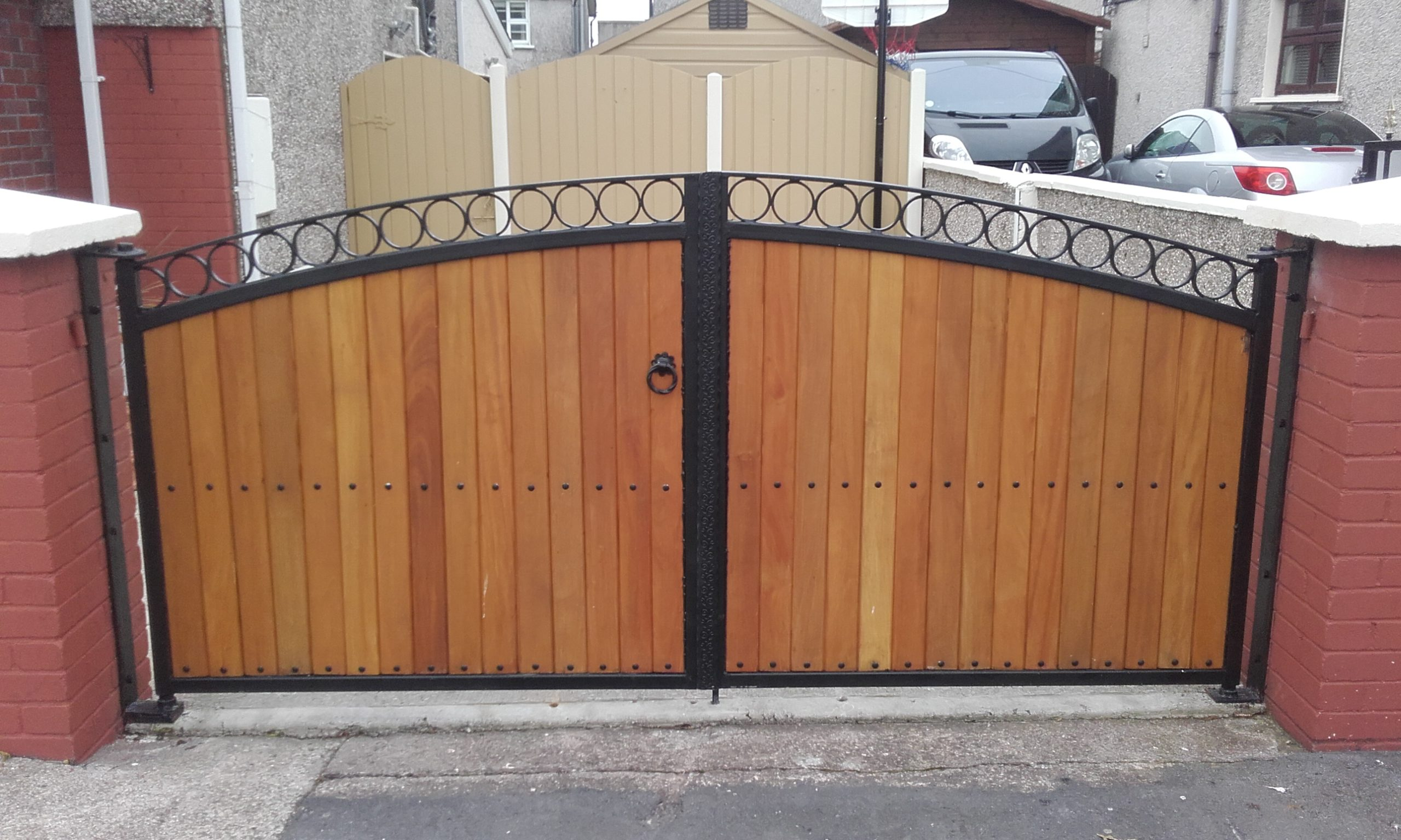 Teak entrance gates. Teak Driveway gates, Teak gates Cork, Steel Frame with Teak Gates, Gates in Cork,