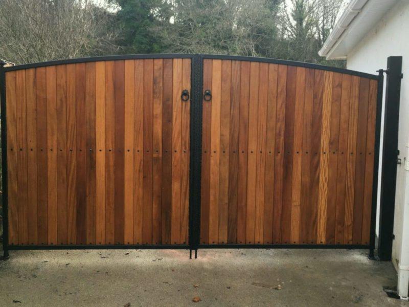 Teak Entance Gates, Teak Driveway Gates, Teak Garden Gates, Steel Frame with Teak Entrance Gates, Teak Gates in Cork,
