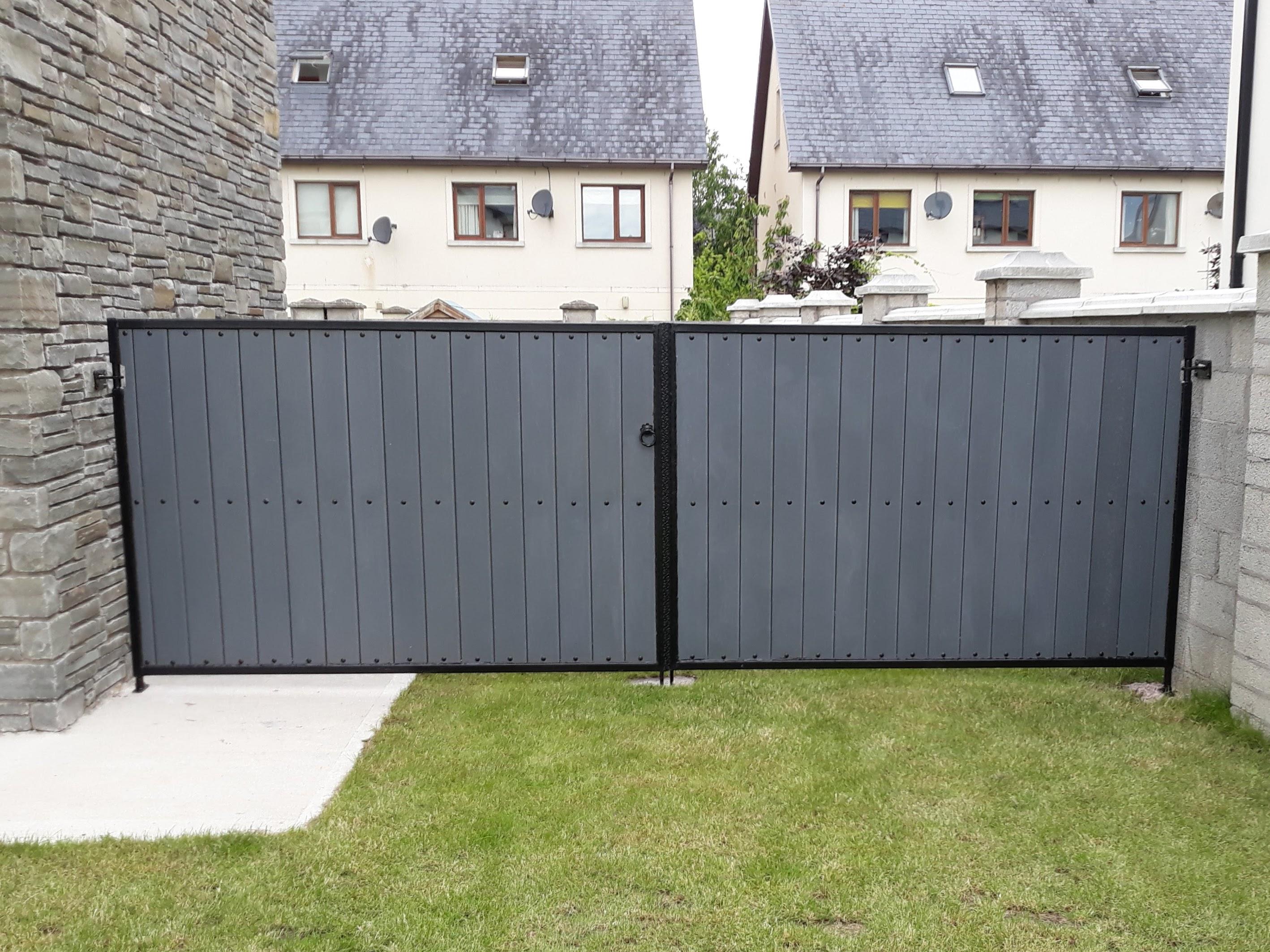 Grey PVC Board Entrance Gates, PVC Entrance Gates, composite board gates, composite board side gates