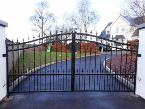 wrought Iron entrance gates, wrought iron gates, iron entrance gates, steel gates, steel entrance gates, brown composite board gates, composite board entrance gates, pvc gates, pvc entrance gates, pvc board gates, pvc board entrance gates, maintenance free gates,