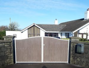 brown composite board gates, Steel frame with brown pvc boards, Steel gates,